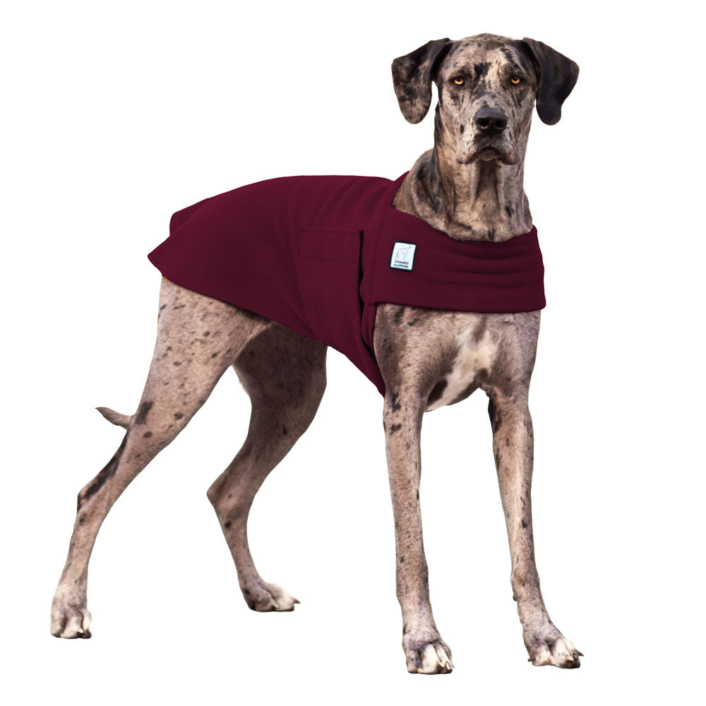 Voyagers K9 Apparel Great Dane Tummy Warmer (Burgundy Polartec Polar Fleece Coat)