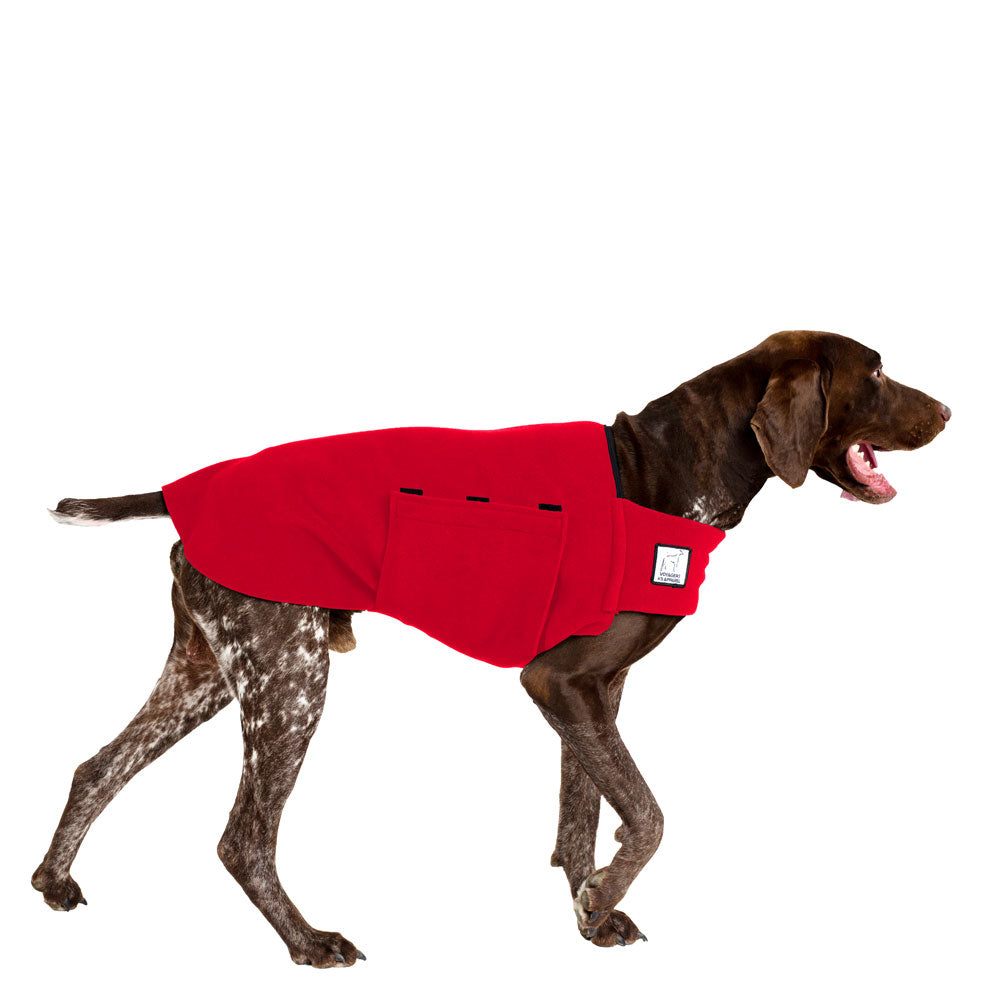 Voyagers K9 Apparel German Shorthaired Pointer Tummy Warmer (Red Polartec Polar Fleece Coat)