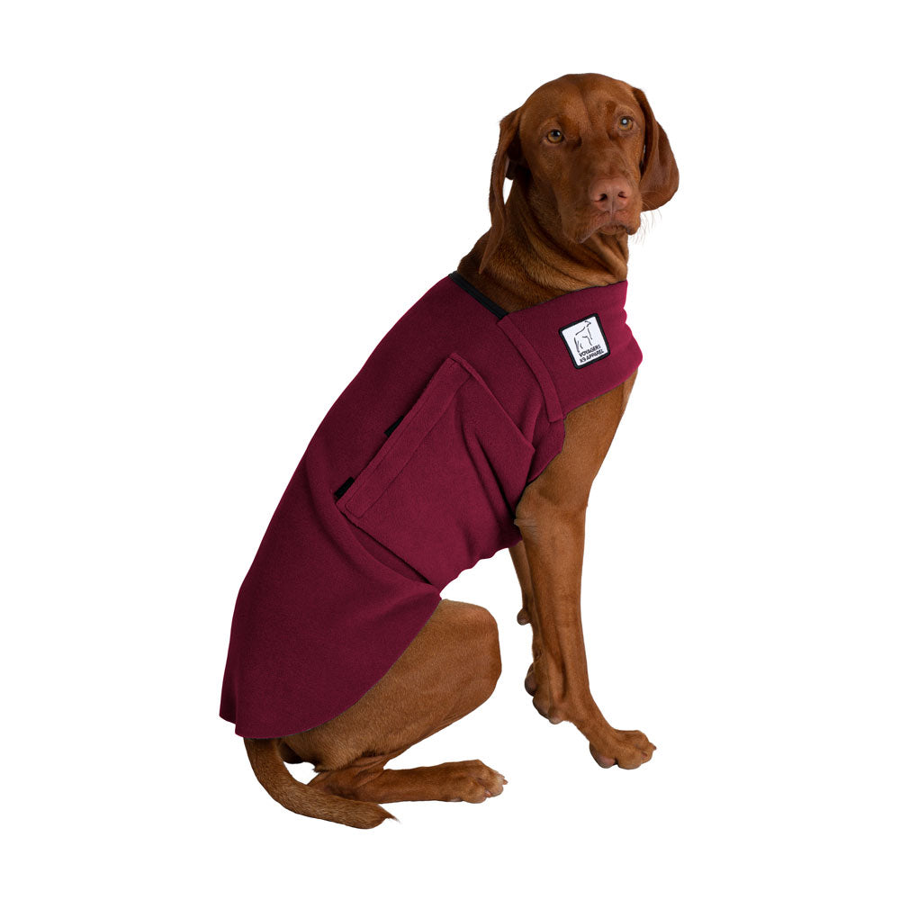 Voyagers K9 Apparel Vizsla Tummy Warmer (Burgundy Polartec Polar Fleece Coat)