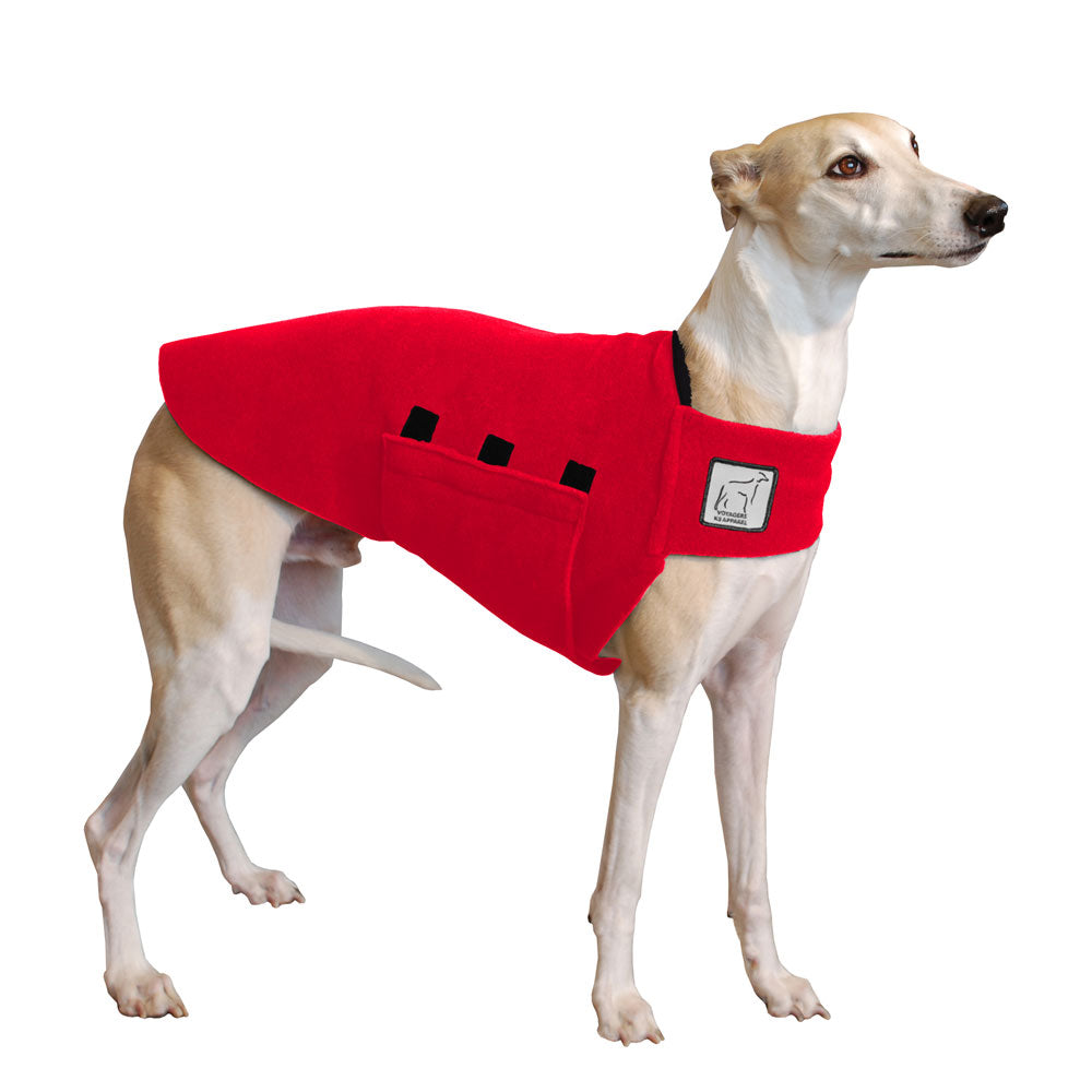 Voyagers K9 Apparel Whippet Tummy Warmer (Red Polartec Polar Fleece Coat)