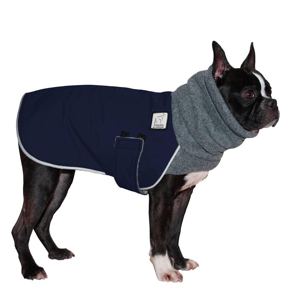 Voyagers K9 Apparel Boston Terrier Winter Coat (Navy with Grey Fleece Hood)
