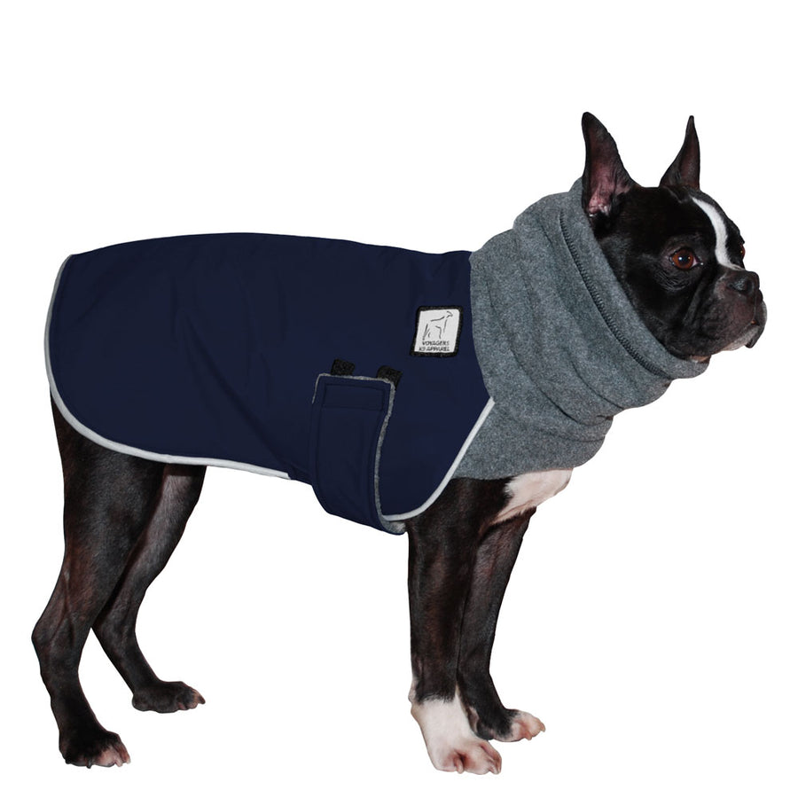 Boston Terrier Winter Coat (Navy Blue) - Voyagers K9 Apparel