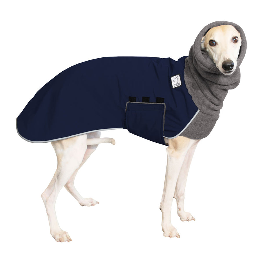 Whippet Winter Coat (Navy Blue) - Voyagers K9 Apparel