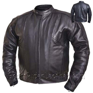 Mens Big and Tall Racer Euro Style Motorcycle Leather Jacket - SKU USA-0209.BT-UN - USA Biker Leather