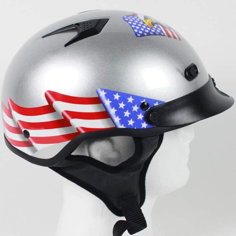 DOT Vented Eagle Flag Silver Motorcycle Helmet / SKU GRL-1VSEF-HI