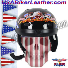 DOT Home of the Brave Motorcycle Shorty Helmet / SKU USA-100BRAVE-HI - USA Biker Leather - 1