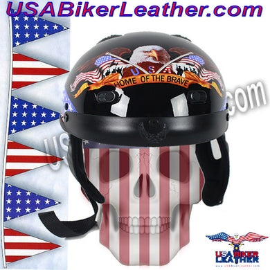 DOT Home of the Brave Motorcycle Shorty Helmet / SKU USA-100BRAVE-HI - USA Biker Leather