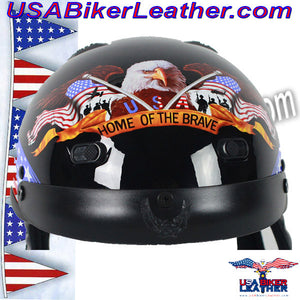 DOT Home of the Brave Motorcycle Shorty Helmet / SKU USA-100BRAVE-HI - USA Biker Leather - 3