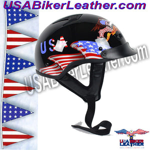 DOT Home of the Brave Motorcycle Shorty Helmet / SKU USA-100BRAVE-HI - USA Biker Leather - 2