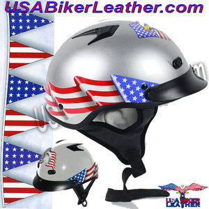 DOT Vented Eagle Flag Silver Motorcycle Helmet / SKU USA-1VSEF-HI - USA Biker Leather