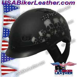 DOT Vented Skull Pile Flat Black Shorty Motorcycle Helmet / SKU USA-1VSP-HI - USA Biker Leather - 2