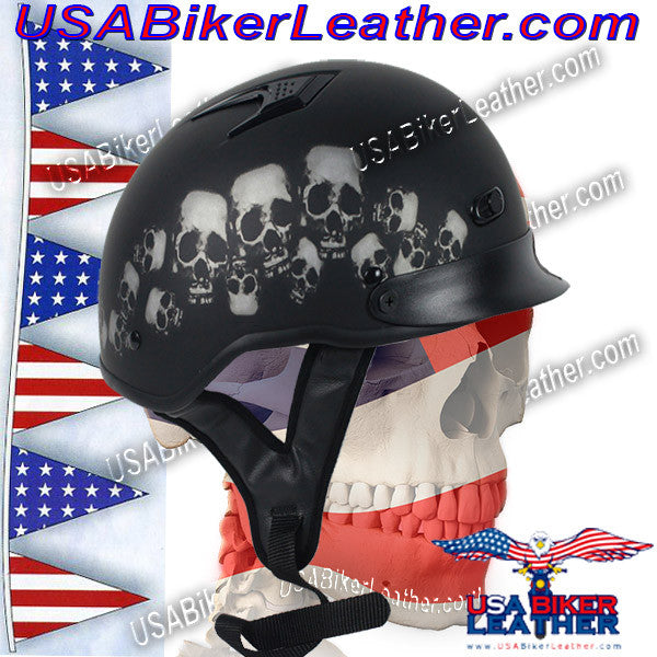 DOT Vented Skull Pile Flat Black Shorty Motorcycle Helmet / SKU USA-1VSP-HI - USA Biker Leather - 1