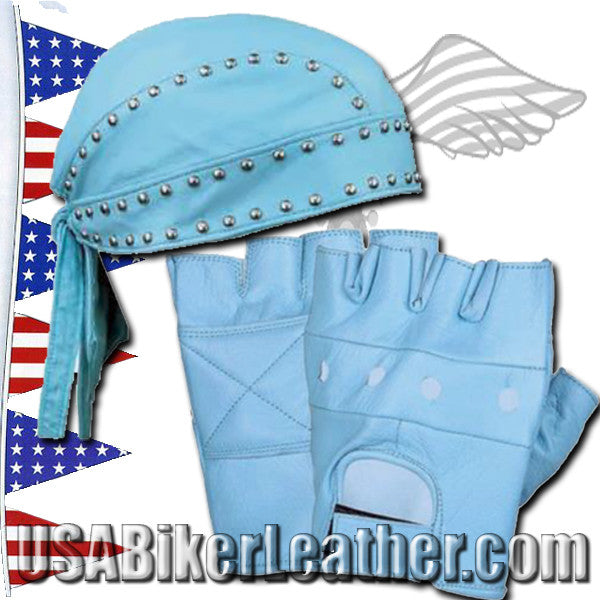 Set of Baby Blue Leather Gloves and Leather SkullCap with Studs / SKU USA-1200.23-1942.23-UN - USA Biker Leather - 1