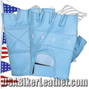Baby Blue Leather Fingerless Gloves / SKU USA-1200.23-UN - USA Biker Leather