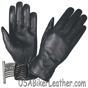 Ladies Full Finger Leather Motorcycle Riding Gloves - SKU USA-1265.00-UN