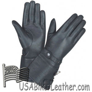 Ladies Full Finger Leather Gauntlet Motorcycle Riding Gloves - SKU USA-1491.00-UN