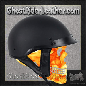 DOT Flat Black Motorcycle Shorty Helmet / SKU GRL-1FB-HI