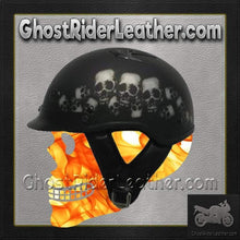 DOT Vented Skull Pile Flat Black Shorty Motorcycle Helmet / SKU GRL-1VSP-HI
