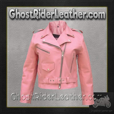 Ladies Classic Biker Pink Leather Jacket / SKU GRL-AL2120-AL