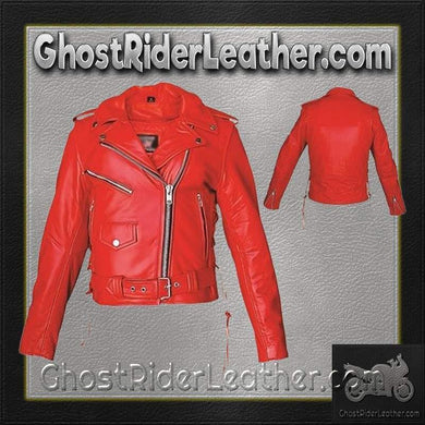Ladies Classic Biker Red Leather Jacket / SKU GRL-AL2122-AL