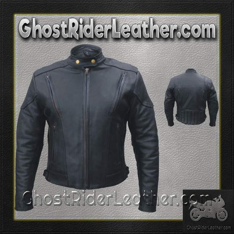 Ladies Euro Racer Biker Leather Jacket With Vents / SKU GRL-AL2145-AL