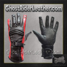 Ladies Leather Gauntlet Gloves in Red White or Blue / SKU GRL-GLZ60-DL-ladies gauntlet leather gloves-Ghost Rider Leather