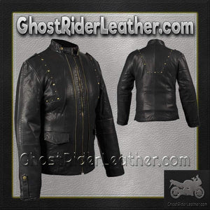 Ladies Leather Jacket With Brass Studs On Front and Back / SKU GRL-LJ214-DL