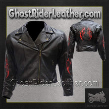 Ladies Leather Motorcycle Jacket with Red Flames / SKU GRL-LJ254-DL