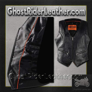 Ladies Leather Motorcycle Zipper Vest with Concealed Carry Pockets / SKU GRL-LV8507-DL