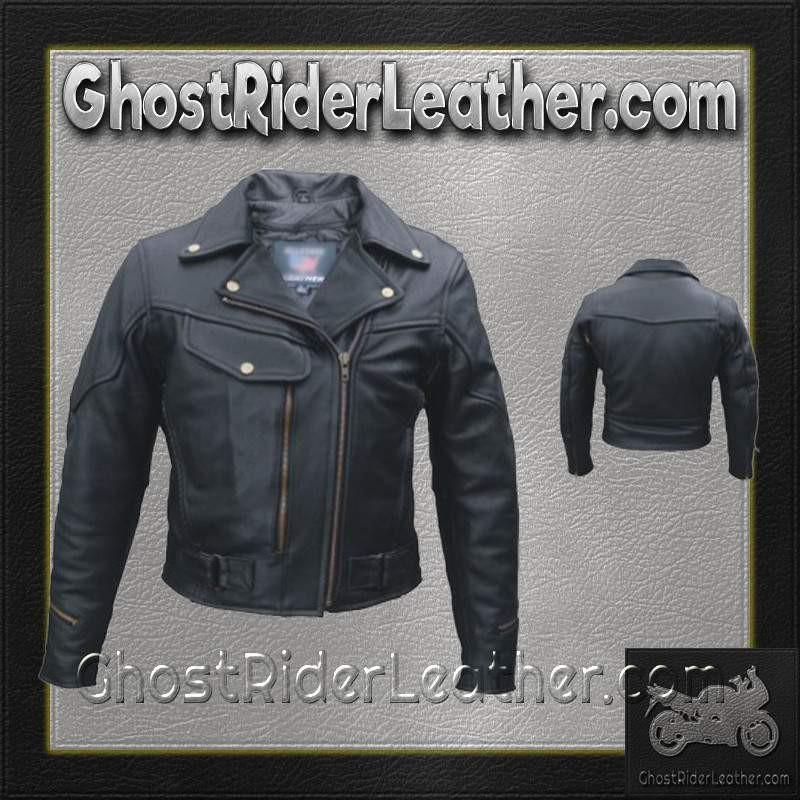 Ladies Pistol Pete Vented Motorcycle Leather Jacket / SKU GRL-AL2144-AL