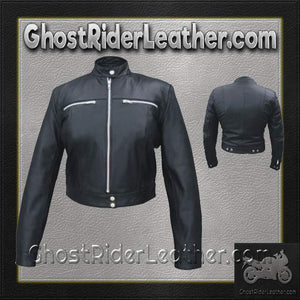 Ladies Racer Biker Leather Riding Jacket / SKU GRL-AL2181-AL