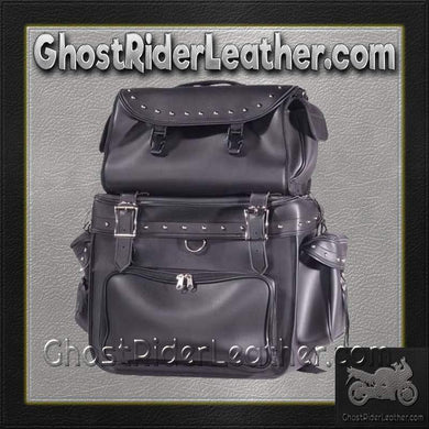 Large PVC Motorcycle Sissy Bar Bag with Studs / SKU GRL-SB002-S-DL - USA Biker Leather