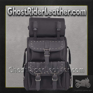 Medium PVC Motorcycle Sissy Bar Bag with Studs / SKU GRL-SB11-MED-STUD-DL - USA Biker Leather