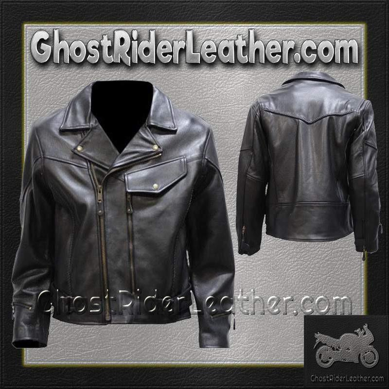 Mens Braided Pistol Pete Leather Jacket / SKU GRL-MJ708-DL