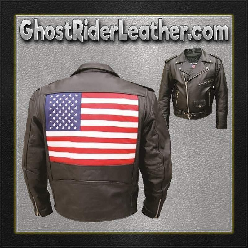 Mens Leather Biker Jacket with American Flag on Back / SKU GRL-AL2018-AL
