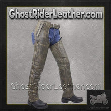 Mens Leather Chaps in Naked Distressed Brown Leather / SKU GRL-C334-12-DL