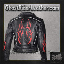Mens Leather Motorcycle Jacket with Red Flames and Reflective Piping / SKU GRL-MJ781-DL