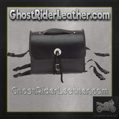 Motorcycle Leather Sissy Bar Bag with Braid  / SKU GRL-SB5007-DL - USA Biker Leather