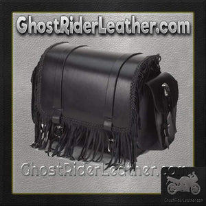 Motorcycle Sissy Bar Bag with Fringe and Braid / SKU GRL-SB73-DL - USA Biker Leather