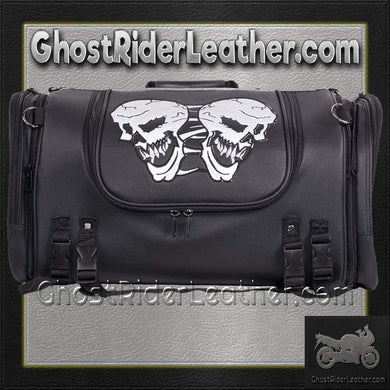 Motorcycle Sissy Bar Bag with Reflective Skulls / SKU GRL-SB84-SKULL-MED-DL - USA Biker Leather