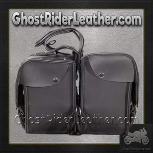 PVC Motorcycle Saddlebags With Braid and Studs / SKU GRL-SD1485-PV-DL