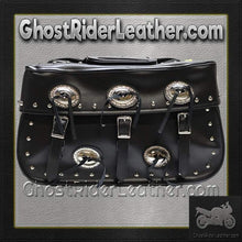 PVC Motorcycle Saddlebags With Conchos and Studs / SKU GRL-SD4000-PV-DL