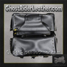 PVC Motorcycle Saddlebags With Conchos and Studs / SKU GRL-SD4000-PV-DL - USA Biker Leather