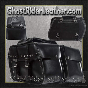 PVC Motorcycle Saddlebags With Studs / SKU GRL-SD4079-STUD-PV-DL