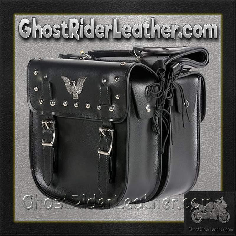 PVC Motorcycle Saddlebags With Studs and Eagle / SKU GRL-SD4071-PV-DL
