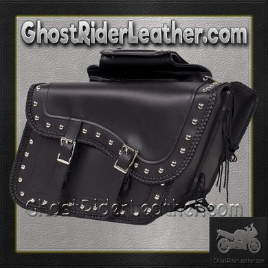 Slanted PVC Motorcycle Saddlebags with Studs / SKU GRL-SD4054PV-DL