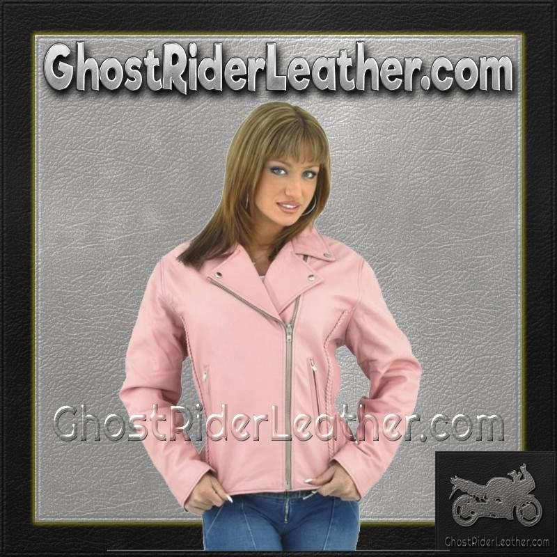 Womens Pink Leather Motorcycle Jacket / SKU GRL-LJ710PINK-DL