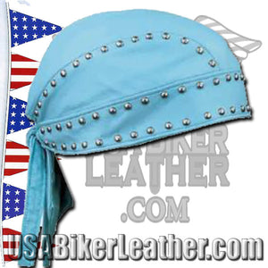 Set of Baby Blue Leather Gloves and Leather SkullCap with Studs / SKU USA-1200.23-1942.23-UN - USA Biker Leather - 3