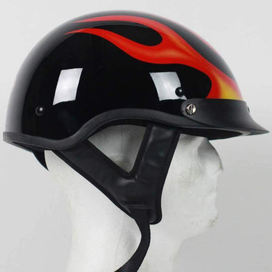 DOT Flame Motorcycle Shorty Helmet / SKU GRL-1F-HI - USA Biker Leather