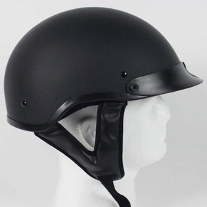 DOT Flat Black Motorcycle Shorty Helmet / SKU GRL-1FB-HI - USA Biker Leather